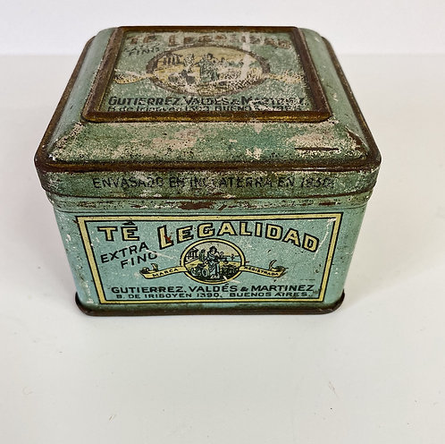 vintage buenos aires tin turquoise metal tobacco