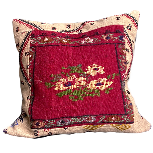Floral Embroidered Kilim Pillow 20x20