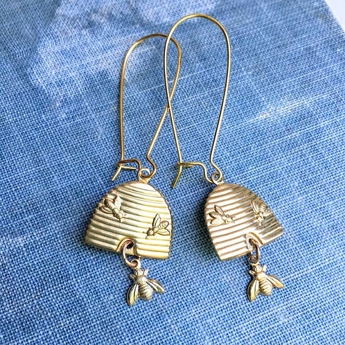 Brass Beehive + Bee Earrings