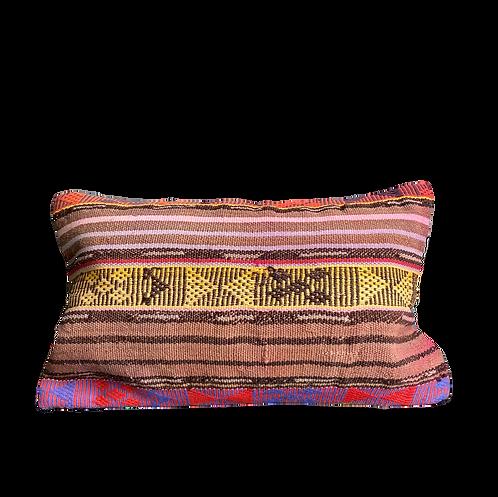 Yellow Stripe Aztec Kilim Pillow 12x20