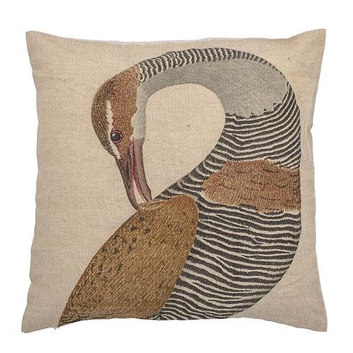 Linen Bird Print Pillow 20x20