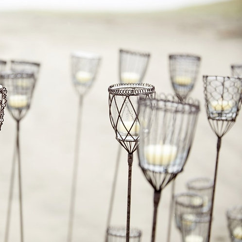 Wire + Glass Votive Candle Stake - 2 sizes