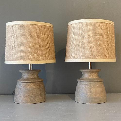 Turned Wood Table Lamp Pair