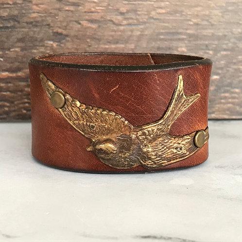 Leather Belt Bracelet with Swallow Bird Brown