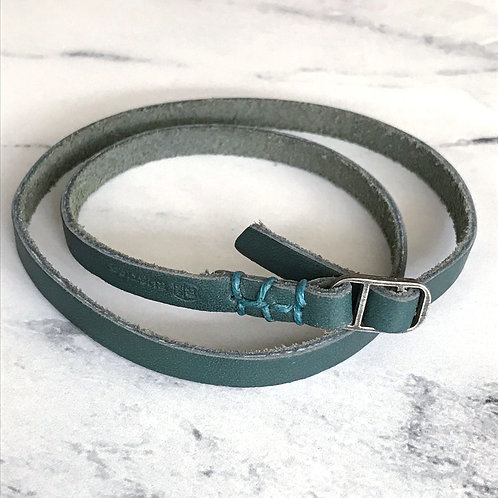 Leather Wrap Bracelet with Teal Stitching