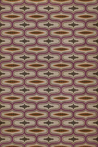 Vintage Vinyl Floorcloth - Williamsburg - Wavy Lines - Voltaire - 20x30