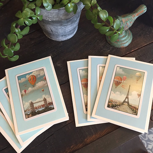 Hot Air Balloon Note Cards Set/6