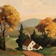 Oil Painting of Farmhouse