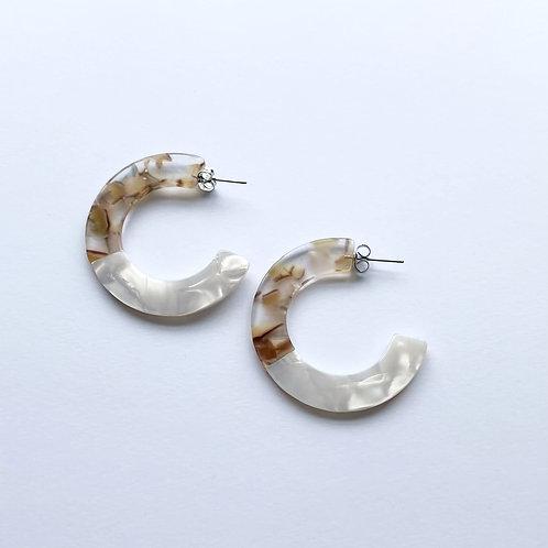 Roza Tortoise Earrings in White