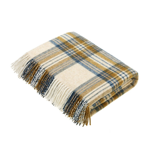 Lambswool Throw National Trust - Gold + Teal