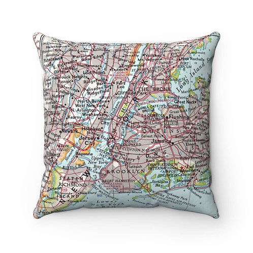 New York Boroughs Map Pillow