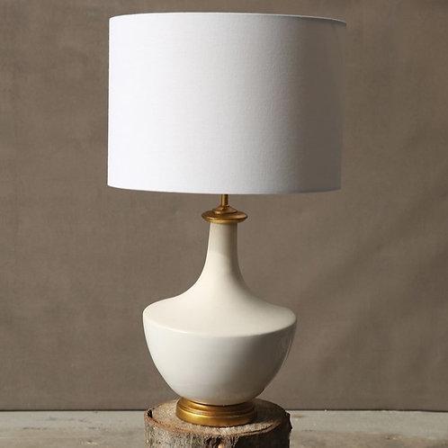 Cream + White Two Tone Ceramic Lamp