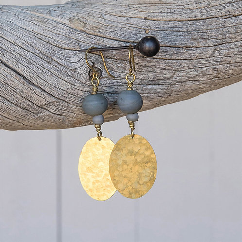Hammered Brass Disc Earrings Grey