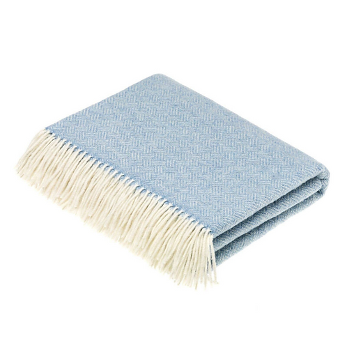 Lambswool Throw Parquet Pattern - Blue
