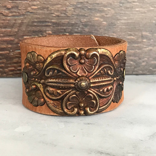 Leather Belt Bracelet with Wide Medallion