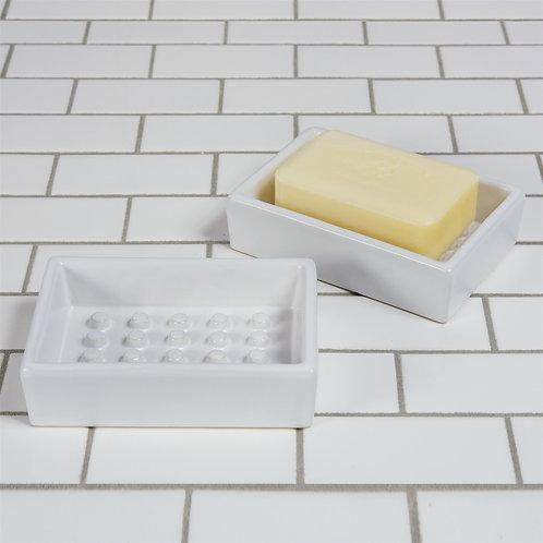 White Soap Dish Ceramic Rectangle Raised Dots Stoneware