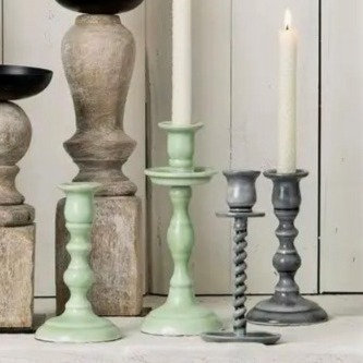 Empire Enameled Candle Holders in 2 Sizes/Colors