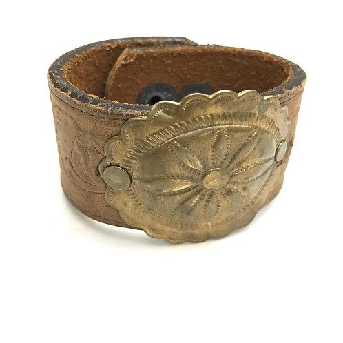 Leather Belt Bracelet with Medallion