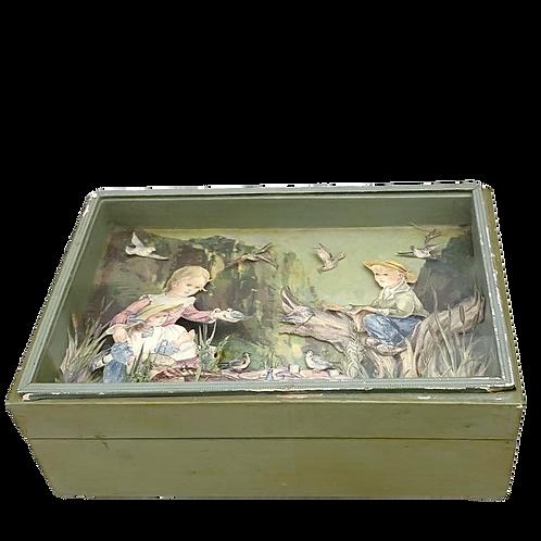 Vintage Keepsake Box with Cut Paper Shadow Box Lid