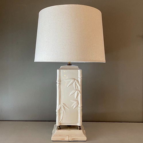 Vintage Hollywood Regency Bamboo Ceramic Lamp