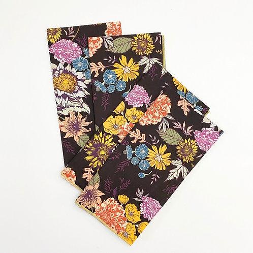 Burgundy Floral Cotton Napkin Set/4