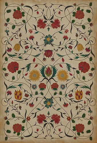 Vintage Vinyl Floorcloth - Williamsburg Floral Abigail - 38x56