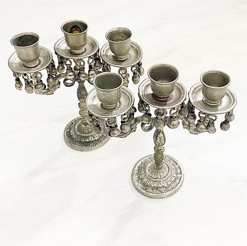 Vintage Tin Candlestick Set