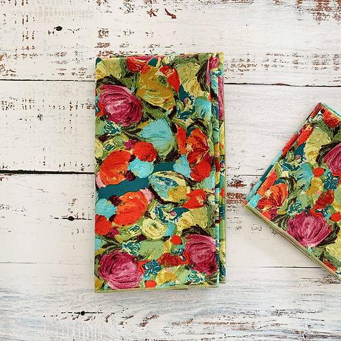 Painted Flowers Cotton Napkin Set/4