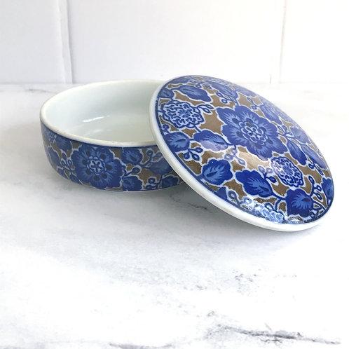 Vintage Ceramic Blue Floral Box