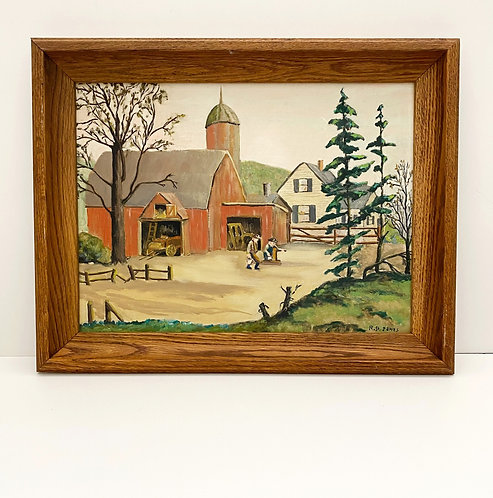 Vintage Oil on Board Painting of Silo + Red Barn by R. St. James