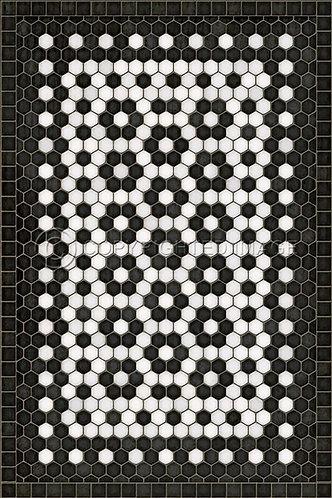 Vintage Vinyl Floorcloth - Mosaic C Catherine Street - 20x30