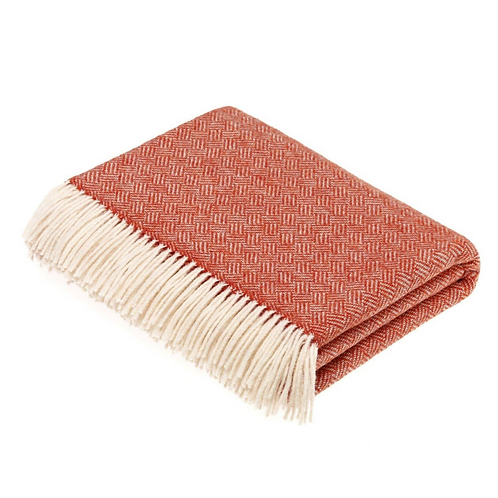 Lambswool Throw Parquet Pattern - Coral
