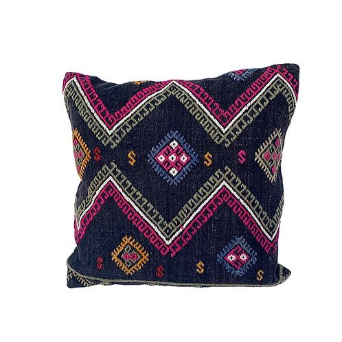 Dark Grey + Pink Kilim Pillow 18x18