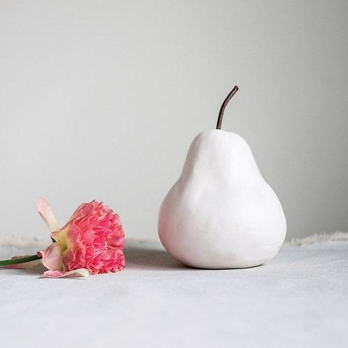 White Stoneware Pear