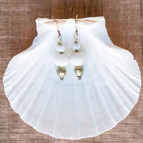 Duo White Bead Earrings
