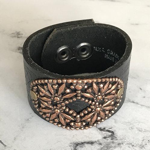 Leather Belt Bracelet with Beaded Medallion
