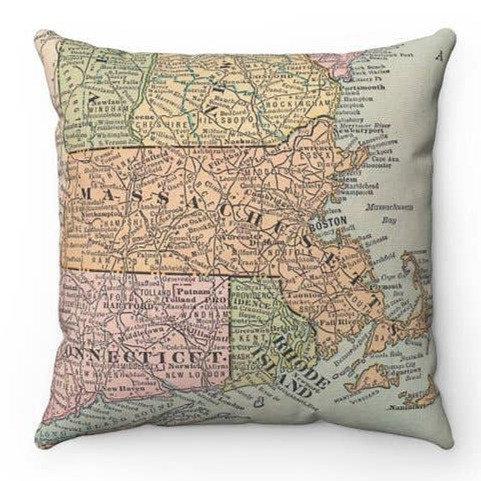 Massachusetts Map Pillow