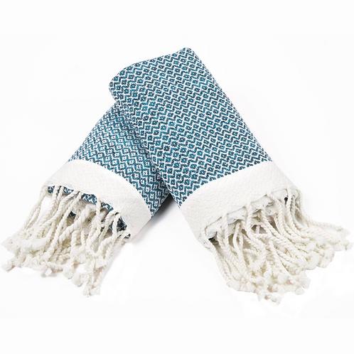Turkish Hand Towel Light Blue Diamond Set 2