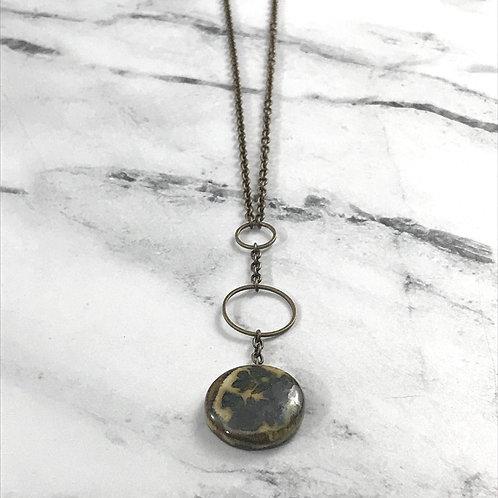 Ceramic Gem Drop Circle Necklace