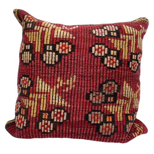 Red Floral Kilim Pillow 24x24