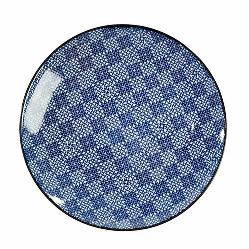 Blue + White Geometric Appetizer Plate