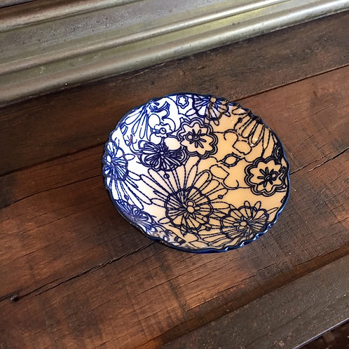 Blue + White Small Floral Dish Plate