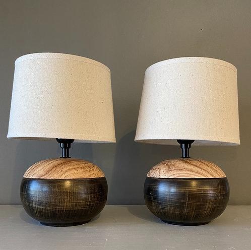 Faux Wood + Bronze Round Lamp Pair