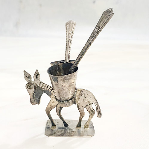 Vintage Silver Donkey Salt & Pepper Holder