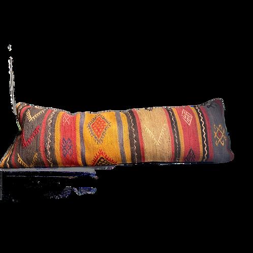 Striped Yellow + Coral Kilim Pillow 12x36
