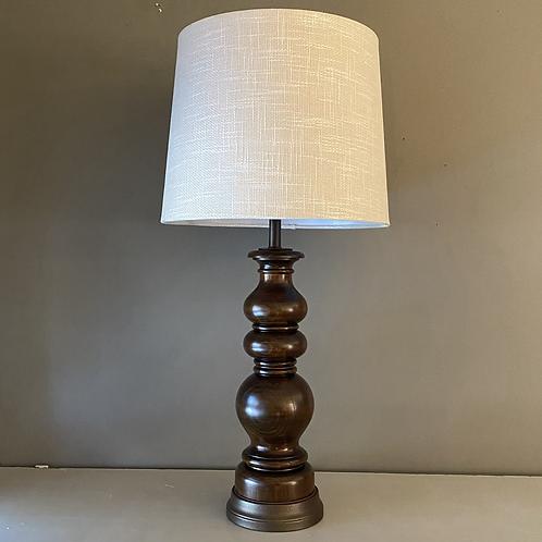 Vintage Turned Dark Wood Lamp