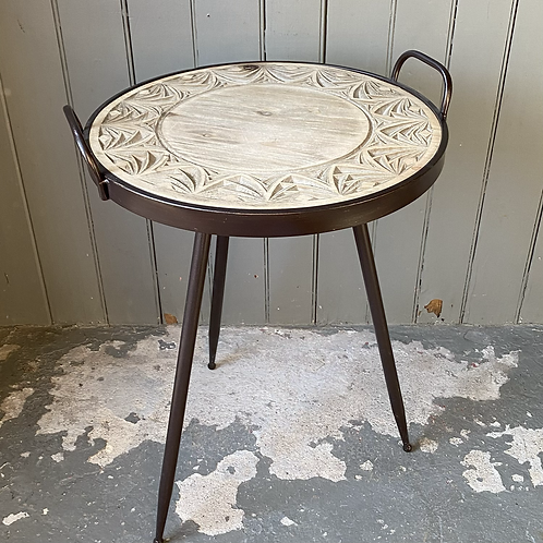 Metal + Carved Wood Accent Table