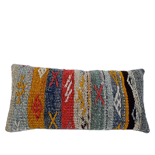 Striped and Nubby Kilim Pillow 12x24