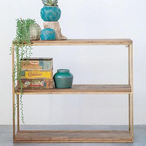Wood + Metal 3-Tier Wall Shelf