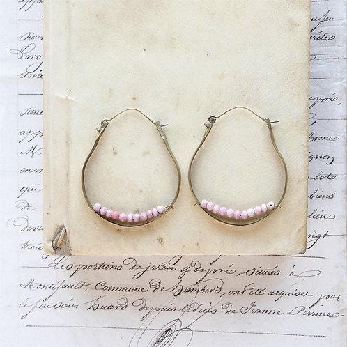 Pink Opal + Brass Hoops
